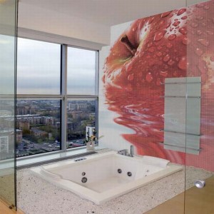 glass mosaic tiles with cool images for bathroom by glassdecor 8 wj3lc 1822 300x300 Mosaicos de vidrio de gran formato