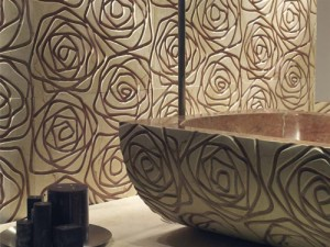 marble tile designs stylized rose decormarmi 3 300x225 Azulejos de mármol con relieve