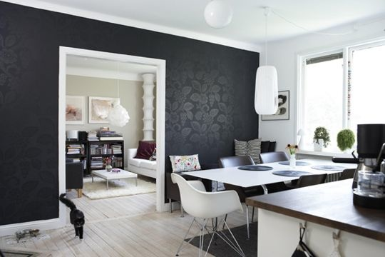 Paredes negras una buena elecci n decoracion de decoracion Black and white living room wallpaper