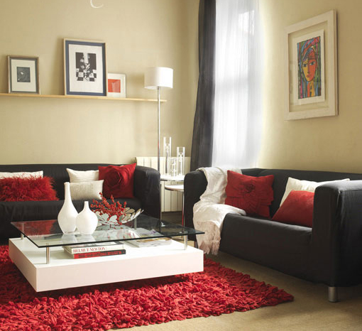 Utiliza el rojo para decorar tu hogar decoracion de for Red white and black living room designs